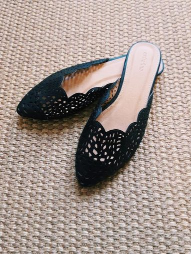 Scalloped Black Leather Flats, $15