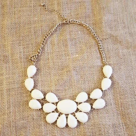 White Acrylic Necklace, $8