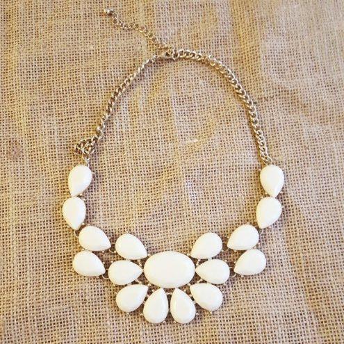 White Acrylic Necklace, $8