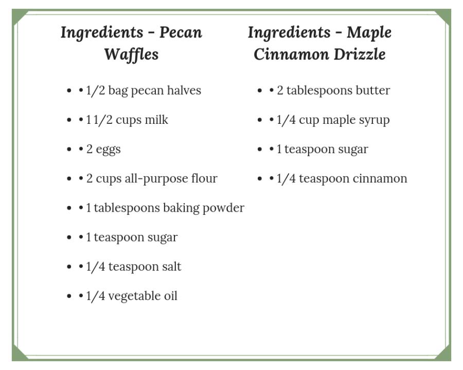 Maple Waffles Ingredients
